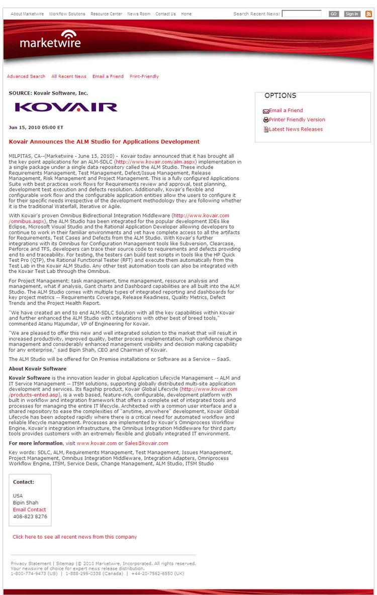 Marketwire Press Release