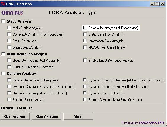 Omnibus Dialog Box for LDRA