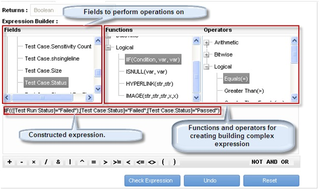The expression builder interface
