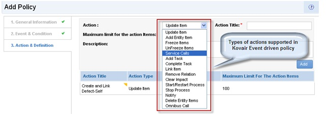 Kovair's Action specification interface