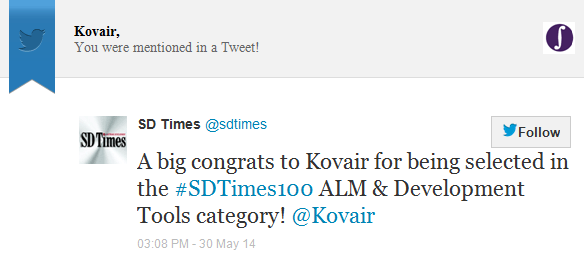 Kovair Mentioned in SD Times Twitter