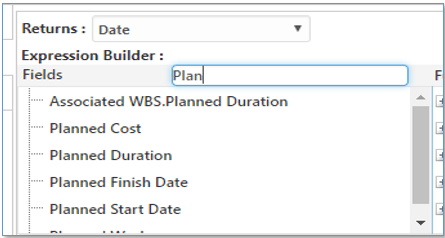 Expression Builder for searching calculated fields