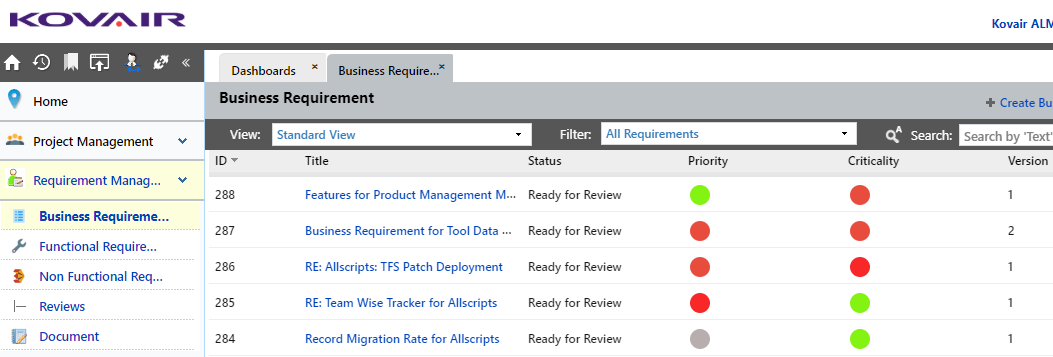 Business Requirements view