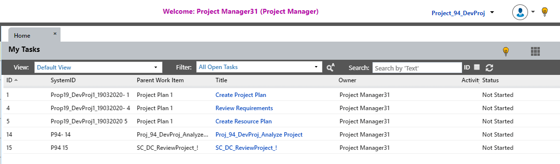 snapshot of the My Tasks page